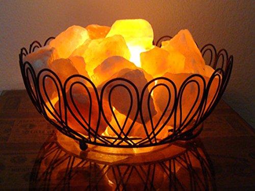 Natural Himalayan Metal Lamp B03 with Salt Chips, on/off cord & Bulb 4x7