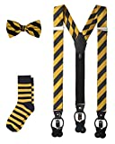 Jacob Alexander Matching College Stripe Suspenders Dress Socks and Bow Tie - Gold Black