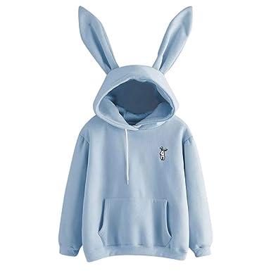 b9f1d1155abede MIRRAY Damen Solide Langarm-Kaninchen Hoodie Sweatshirt Pullover Tops  Bluse: Amazon.de: Bekleidung