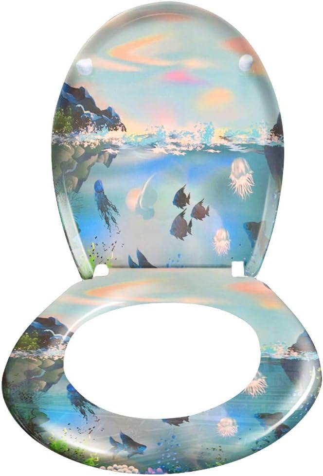 Hengda Copriwater Copriwater Premium con abbassamento automatico cerniere stabili sedile wc in vari motivi migrazione coperchio in plastica termoindurente