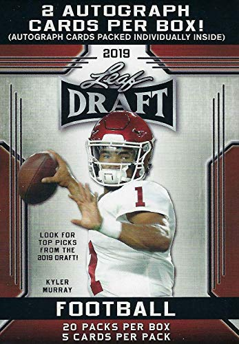 (2019 LEAF NFL DRAFT Series Factory Sealed Blaster Box of Packs with 2 GUARANTEED Autographed Cards per box! One of the First 2019 Football Products on the market!)