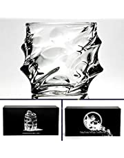 Whiskey Glasses, Tumblers, LowBall Glass 11 oz set of 2. Hand Blown unleaded Crystal Modern Comfortable Glassware in Luxury Box. Bourbon,Scotch,Old Fashioned Cocktails By TobyGlobal