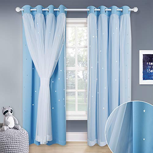 NICETOWN Romantic Layered Blackout Curtains - Double-Deck Sheer Panel & Star Drapes for Sliding/Patio Door, Window Treatment Draperies (Blue, 1 Pair, 95 inches Long, Tie Backs Included) (Romantic Window Treatments)
