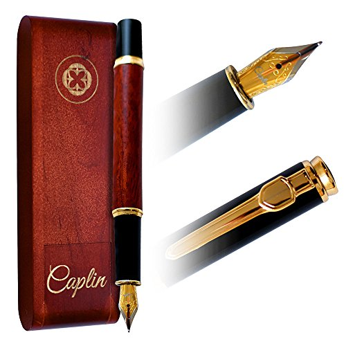 CAPLIN ROSE GOLD FOUNTAIN PEN | Natural Handcrafted Wine Rosewood Gift | Gracious Ink Flow | Luxury Vintage Pen | Business Work Home | Classic Edition | Gift Set (Elias Gold Edition)