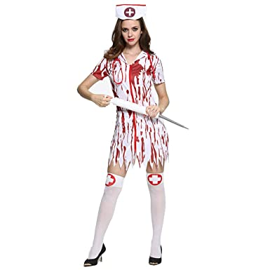 8dc9e24cb59aa Lucky Shop1234 Women's Halloween Nurse Costume Blood Nurse's Dress Horror  Bloody Cosplay Suit with Hat and