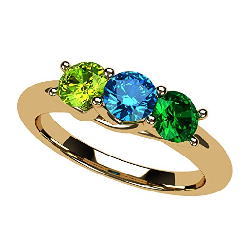 - NANA Lucita Mothers Ring 1 to 6 Stones in 10k Yellow- Size 7.5