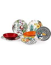 Excelsa Tropical Chic 18-częściowy zestaw obiadowy z porcelany, wielokolorowy