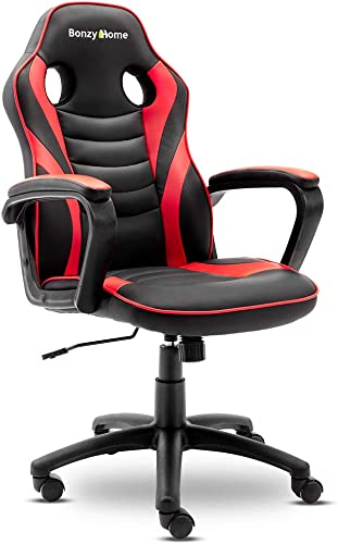 Bonzy Home Computer Gaming Chair Ergonomic Recliner Computer Chair Leather Racing Style Office Chair High-Back E-Sports Game Chair