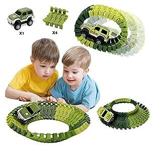 HOMOFY Dinosaur Toys Slot Car Race Track Sets Jurassic World Flexible Tracks 2 Dinosaurs,Bridge Create A Road 142 Pcs Car Track Toys 1 2 3 Year Old Boys Girls Toddlers Gifts