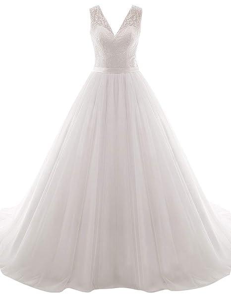 JAEDEN Vestidos de Novia Vestido de Boda Largo Mujer A línea Tul V-Cuello Blanco