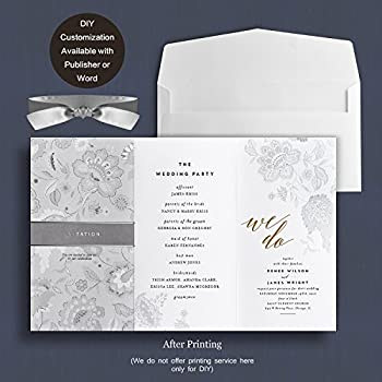 weddingbob 5pcs foil stamping embossing flora design wedding invitations cards kit for bridal shower dinner with - Brides Wedding Invitations