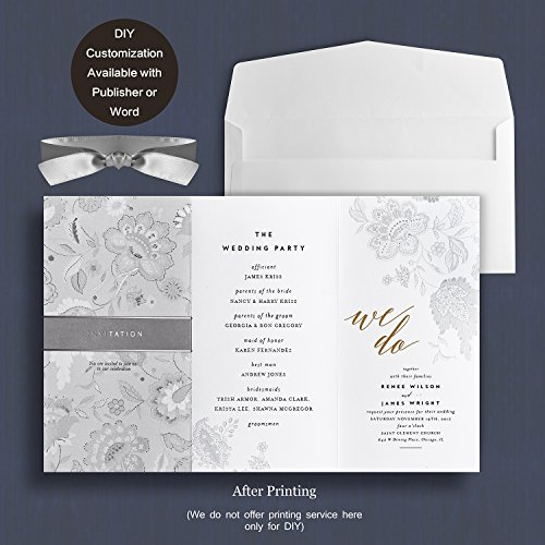 Printable Dinner Invitations - Weddingbob 5Pcs Foil Stamping Embossing Flora Design Wedding Invitations Cards Kit for Bridal Shower Dinner with Envelopes and Printable Paper Ocean-grey Ribbon Packer