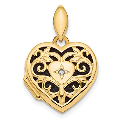 14k Yellow Gold Filigree Diamond Heart Photo Pendant Charm Locket Chain Necklace That Holds Pictures Fancy Fine Jewelry For Women Gift Set