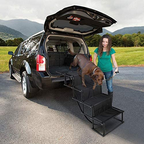 COZIWOW Metal Frame Folding Dog Pet Stair Ladder – 4 Steps for Medium to Large Dogs, Cars, SUVs and Trucks, Up to 132 LbsStable, Portable, Lightweight, Black