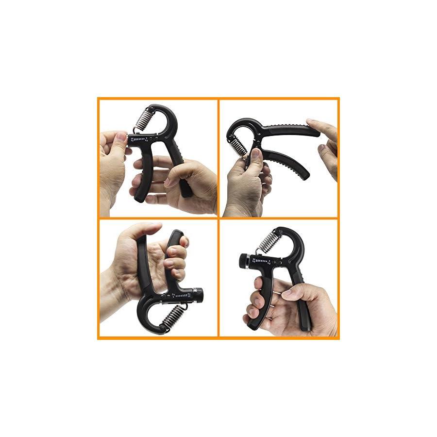 HSicily Hand Grip Strengthener Strength Trainer Adjustable Resistance 11 to 110 Lbs Forearm Hand Finger Exercisers Kit Non Slip Gripper for Women Men Kids