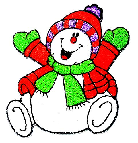 Happy Snowman Red Sweater Winter Merry Christmas Cartoon Children Kid Patch Clothes Bag T-Shirt Jeans Biker Badge Applique Iron on/Sew On Patch ()