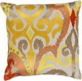 22'' Golden Yellow and Fire Storm Orange Decorative Throw Pillow - Down Filler