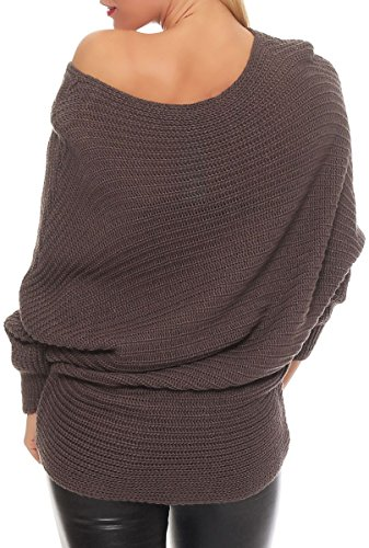 malito Suéter en el Básico-Look Cárdigan Chaleco Chaqueta Capa Bolero Poncho Oversized Rebecca Casual 7325 Mujer Talla Ùnica Fango