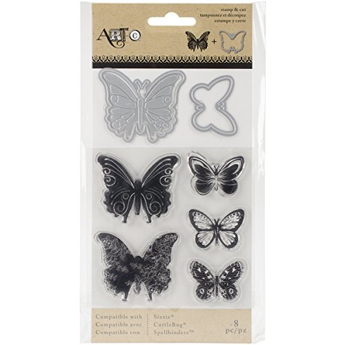 Momenta Stamp & Die-Cut Set - Butterflies - Easy-to-Cut Stylish Embellishments and Salutations for Greeting Cards and ()