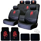 New Embroidery Red Dragon Design Car Seat Covers Headrest Covers Floor Mats Gift Set