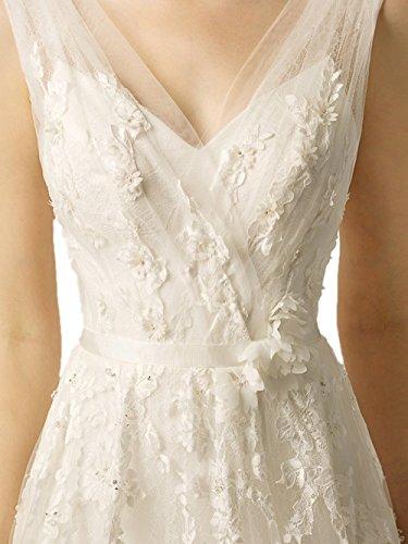 Ikerenwedding - Vestido - trapecio - Sin mangas - para mujer Off White