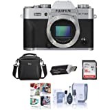 Fujifilm X-T20 24.3MP Mirrorless Digital Camera UHD 4K Video, Panorama, Silver - Bundle With camera Case, 16GB SDHC Card, Cleaning Kit, Card Reader, Software Package