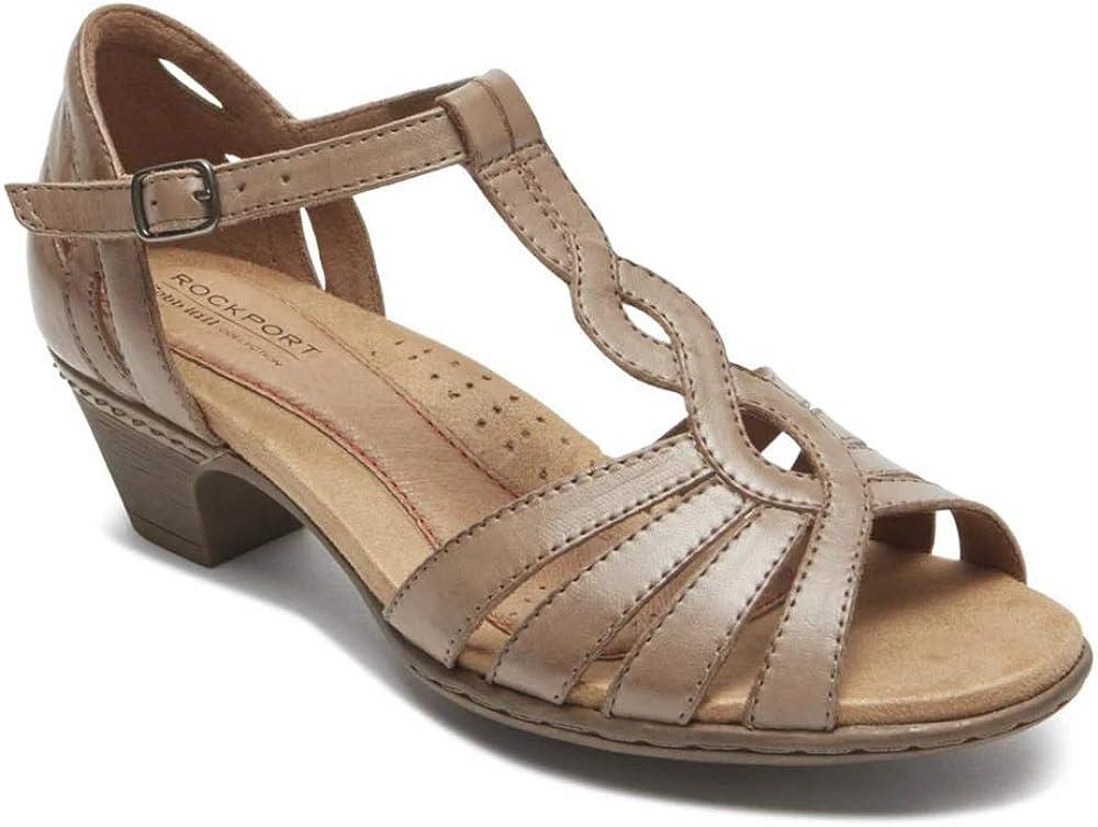 Cobb Hill Women's Abbott Curvy T Sandal, Khaki Leather, 6 W US
