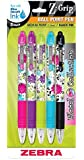 Zebra Z-Grip Floral Retractable Ballpoint Pen, 1.0mm, Assorted, 5 Pack (22605)