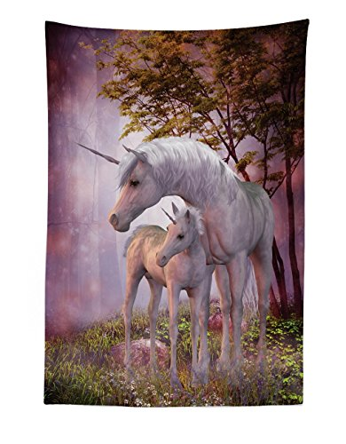 (Lunarable Fantasy Tapestry, Family of Unicorns with Mother and Foal in a Magical Rural Environment Misty Forest, Fabric Wall Hanging Decor for Bedroom Living Room Dorm, 30 W X 45 L inches, Multicolor)
