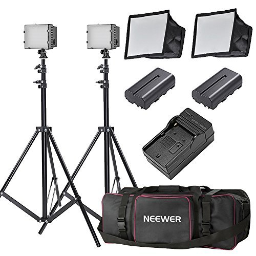 Neewer 2×160 LED Dimmable Ultra High Power Panel Lighting Kit for Digital Camera Camcorder Includes: (2)CN-160 Light, (2)5.9×6.7 inches Softbox, (2)Battery Replacement, (2)6 feet Light Stand, (1)Bag