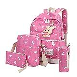 Outsta 4 Sets Women Girl Rabbit Animals Travel Backpack, School Bag Shoulder Bag Handbag Travel Lightweight Classic Basic Water Resistant Backpack Fashion (Hot Pink)