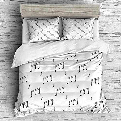 3 Pieces/All Seasons/Home Comforter Bedding Sets Duvet Cover Sets for Adult Kids/Queen/Music,Musical Notes Themed Melody Sonata Singing Songs Clef Tunes Hand Drawn ()