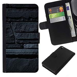 KLONGSHOP // Tirón de la caja Cartera de cuero con ranuras para tarjetas - Art Pared de piedra gris Arquitectura Diseño - HTC DESIRE 816 //