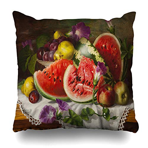 Ahawoso Throw Pillow Cover Apples Fruit Painting Oil Still Life Watermelon Food Floral Flower Color Design Decorating Decorative Pillowcase Square Size 18