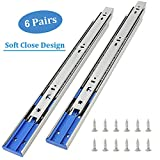 6 Pairs of 16 Inch Hardware 3-Section Soft Close Full Extension Ball Bearing Side Mount Drawer Slides,100 LB Capacity Drawer Slide