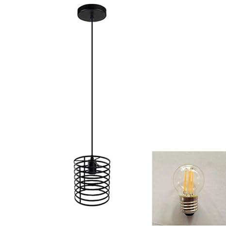 Lámpara Colgante Araña Retro Industrial Lámpara Jaula Negro ...