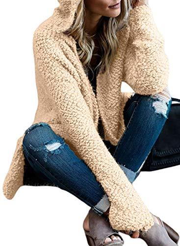Lovezesent Womens Plus Size Fuzzy Fleece Open Front Cardigan Jackets Long Sleeve Warm Hooded Outwear Coats Apricot XXL (Apricot Hooded Long Sleeve Cardigan Sweater Coat)