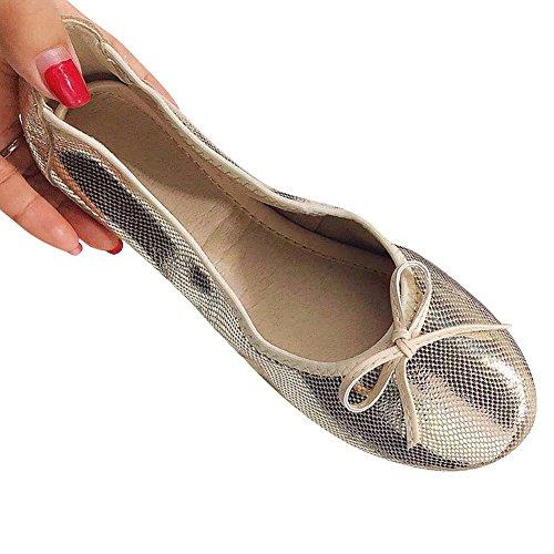 Bailarinas Centavo Plegable Mocasines con Bowknot Vestir rismart Ponerse Gold Cuero Mujer Zapatos 4WZwAqWU0