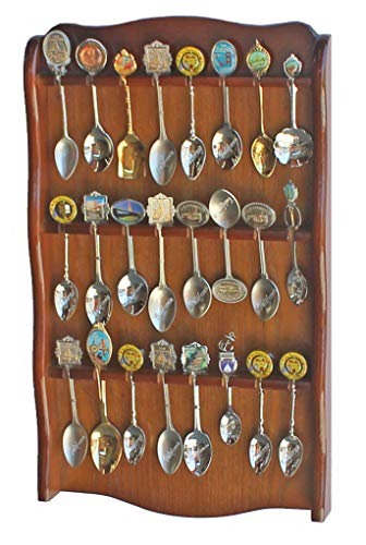 Spoon Rack Holder to hold 24 Spoons, Display Souvenir or Collectible Spoons, SP24-WALN ()