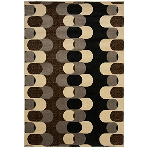 7.25' Link (5.25' x 7.25' Majestic Puzzle Links Dark Chocolate and Pewter Area Throw Rug)