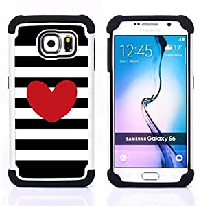 For Samsung Galaxy S6 G9200 - stripes horizontal love black white Dual Layer caso de Shell HUELGA Impacto pata de cabra con im??genes gr??ficas Steam - Funny Shop -