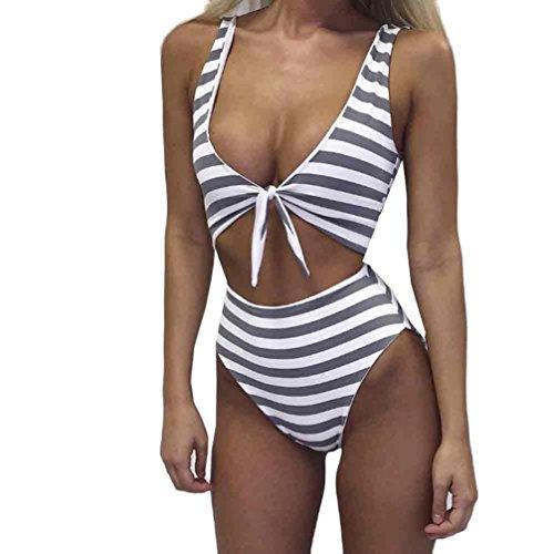 Sunfei Striped Swimwear Swimsuit Monokini