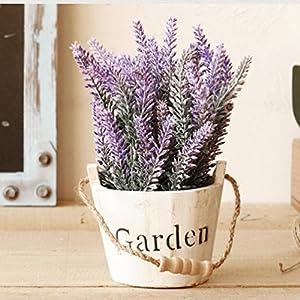 Hibery 6 Bundles Artificial Lavender Plant with Silk Lavender Flowers Lavender Bouquet for Wedding Decor, Home, Garden, Patio Decoration 3