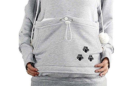 Taglie Pullover Manica Donna Gatti Grigio Cappuccio Porta Casual Con Forti Domestici Sciolto Felpa Animali Hoody Felpe Con Sweatshirt Moda Lunga E Tasca Cani X5wn8q