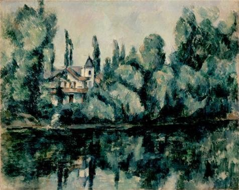 Paul Hobbs Napa - Oil Painting 'The Banks Of The Marne Villa On The Bank Of A River By Paul Cezanne' 24 x 30 inch / 61 x 77 cm , on High Definition HD canvas prints, gifts for Dining Room, Gym And Home Office decor