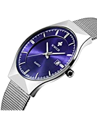 Mens Fashion Business Calendar Quartz Watch Mens Ultra thin Stainless Steel Mesh Band Watch Blue
