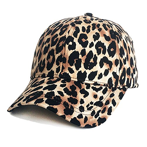- ZLSLZ Womens Girls Leopard Print Baseball Trucker Sport Golf Ponytail Pony Sun Hat Cap Brown
