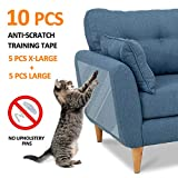 FOCUSPET Furniture Protectors from Cats 10pcs Cat Scratch Deterrent Sheet | Double-Sided Training Tape an-ti Pet Scratch for Leather Couch Furniture Protector 5XL-17'x12' + 5L-17'x10'