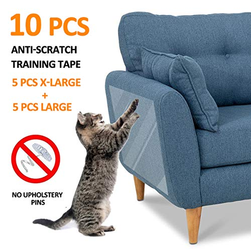 FOCUSPET Furniture Protectors from Cats 10pcs Cat Scratch Deterrent Sheet | Double-Sided Training Tape an-ti Pet Scratch for Leather Couch Furniture Protector 5XL-17″x12″ + 5L-17″x10″