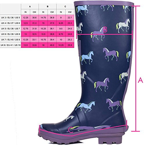 Boots 5 Adjustable Rain Wellies Spylovebuy SZ Horse Flat Festival Buckle Blue Ypwqwaxg